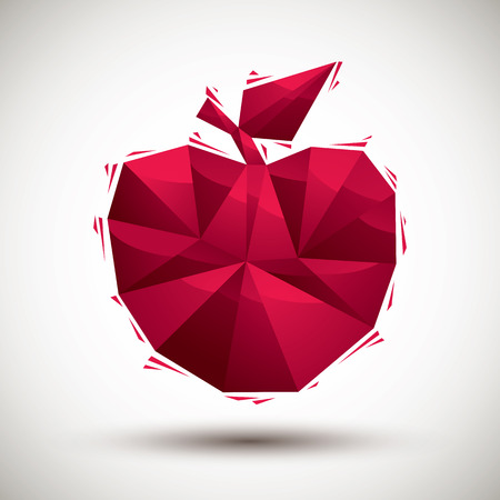 gm: Red apple geometric icon made in 3d modern style Illustration