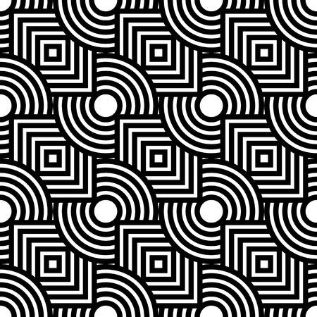 シームレスな幾何学模様、黒と白のストライプのシンプルなベクトルの背景  イラスト・ベクター素材