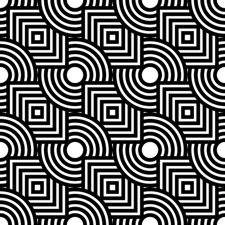 Seamless geometric pattern, simple vector black and white stripes background