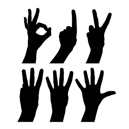 Numbers hand signs set Vector