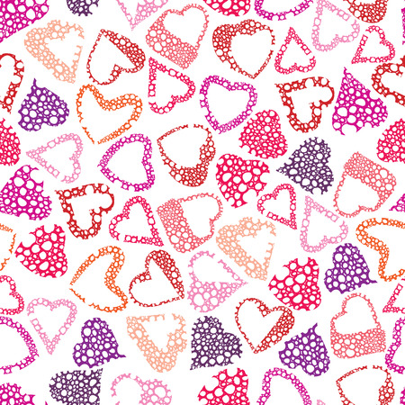 Hears seamless pattern, love valentine and wedding theme seamless vector background, hand drawn lines textures used. Vector