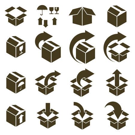 Verpakkingen dozen iconen op een witte achtergrond vector set, pak simplistische symbolen vector collecties.