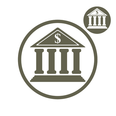 treasury: Bank building vector simple single color icon isolated on white background
