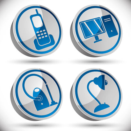 table lamp: Household appliances icons set, telephone, pc computer, vacuum cleaner, table lamp. Illustration