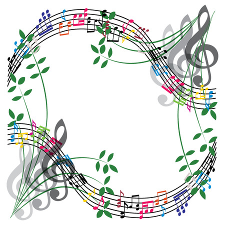 Music notes composition, musical theme background, vector illustration. Vector