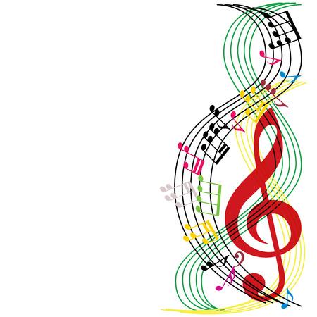 notas musicales: La m�sica observa la composici�n, el fondo del tema musical, la ilustraci�n vectorial.