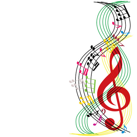 Music notes composition, musical theme background, vector illustration.