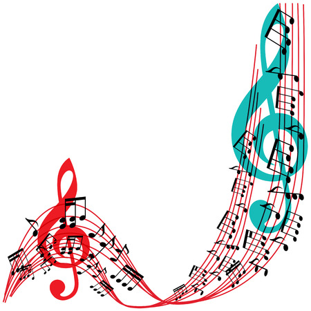 Music notes background, stylish musical theme frame, vector illustration. Vector