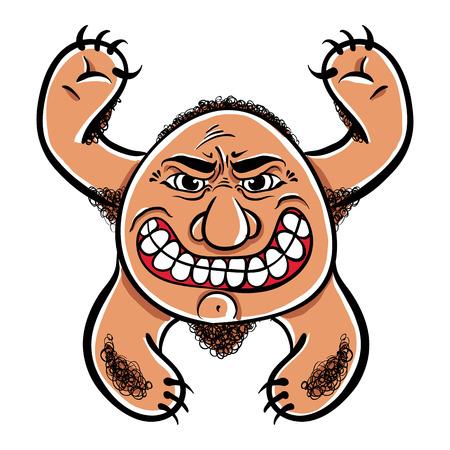 sinful: Angry cartoon monster, vector illustration. Illustration