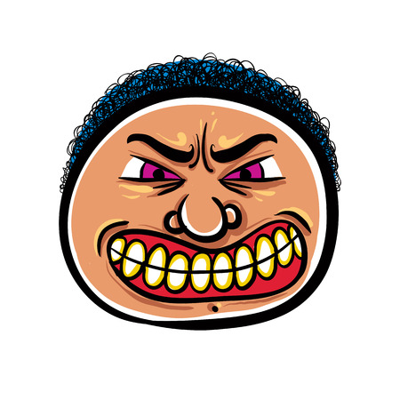 nutty: Angry cartoon face, vector illustration.