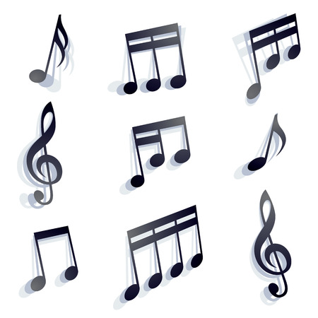Musical notes set, abstract, vectors. Vector