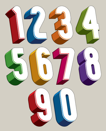 3d numbers set made with round shapes, colorful numerals