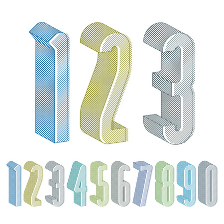 3d extra tall numbers set with lines textures, colorful numerals  Illustration