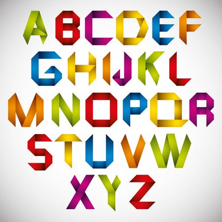 Origami style font with colorful letters, vector alphabet. Vector