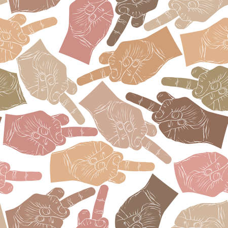 obscene gesture: Middle finger hands seamless pattern