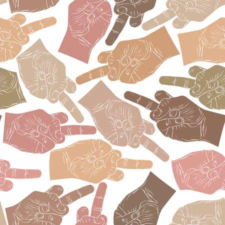 obscene: Middle finger hands seamless pattern