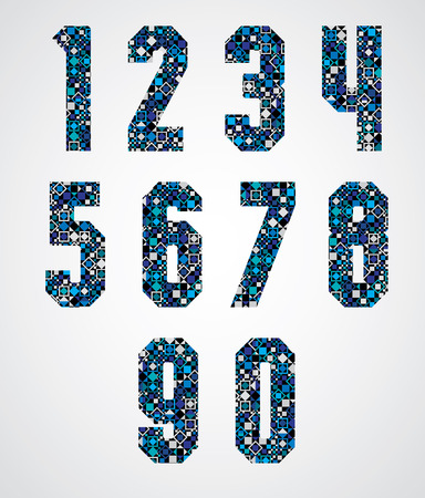 Geometric numbers decorated with blue pixel texture, modern digital style numerals, vector set.