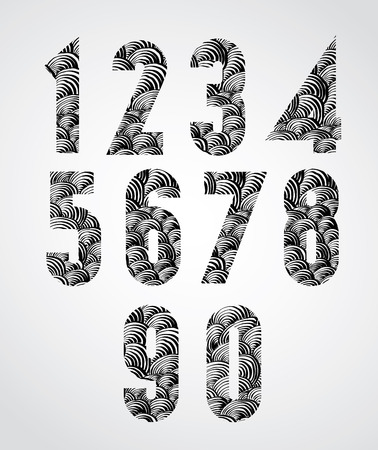 doddle: Stylized numbers, bold condensed poster style numerals with hand drawn lines pattern, sketchy doddle style drawing vector symbols. Illustration