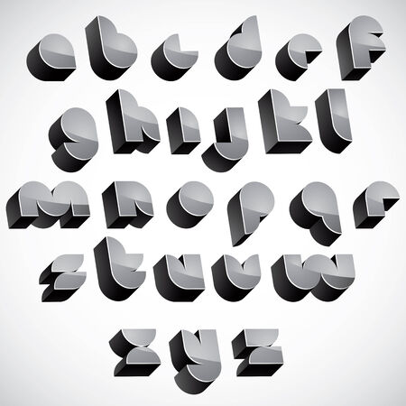 verbs: 3d futuristic font, geometric dimensional letters set, monochrome alphabet for design. Illustration