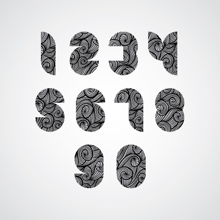 Modern shape black numbers, digital style contemporary numerals with hand drawn curly lines pattern, sketch funky curls doddle style drawing vector symbols.  Vector