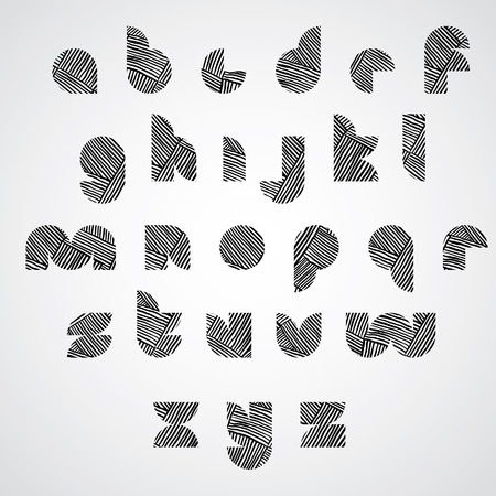 doddle: Simple shape letters font with hand drawn lines pattern, sketch doddle style drawing vector alphabet. Illustration