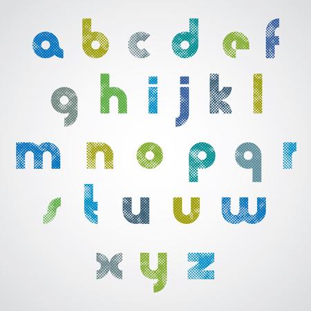 Halftone print dots textured stylish modern font, grunge aged macro style, geometric simplistic stylized letters, vector alphabet. Vector