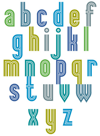 verbs: Retro style stripe trendy font, geometric letters vector alphabet. Lowercase letters set. Vector.