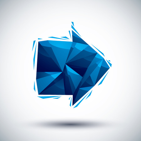 Blue arrow geometric icon made in 3d modern style  Vector