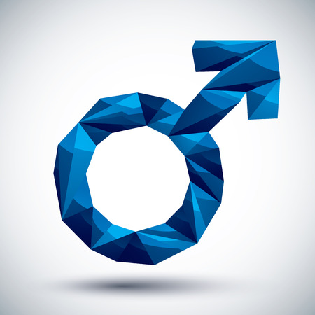 male symbol: Blue male sign geometric icon made in 3d modern style