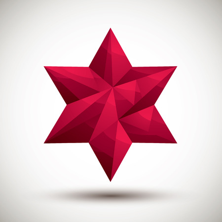 Red six angle star geometric icon made in 3d modern style  Vector