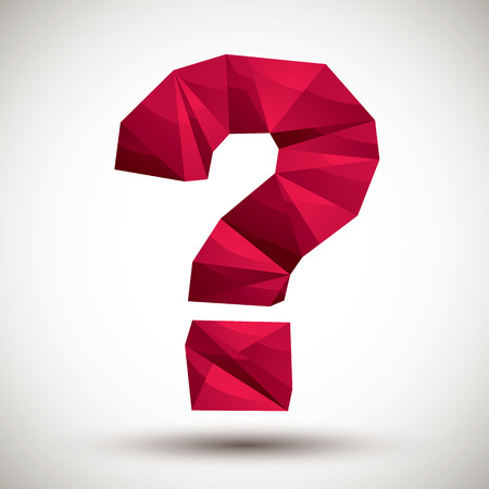 Red question mark geometric icon made in 3d modern style