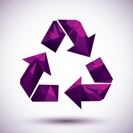Violet recycle geometric icon made in 3d modern style Vector