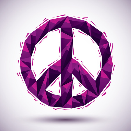 peace concept: Violet peace geometric icon made in 3d modern style