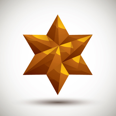 Golden six angle star geometric icon made in 3d modern style Vector