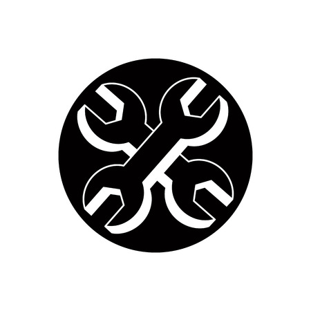 reconditioning: Repair icon with two wrenches, vector. Illustration