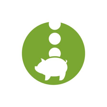 banco dinero: Dinero Hucha, icono vector.