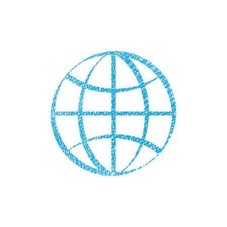 simplistic: Earth simplistic vector icon with hand drawn lines texture.