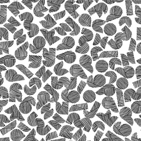 Vector illustration of seamless pattern with hand drawn lines textured letters. Abstract alphabet background.  Vector