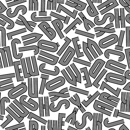 Geometric seamless pattern with letters, vector background. Retro stripy alphabet letters design, black and white.  Vector