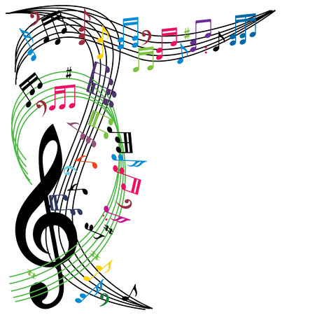 Music notes background, stylish musical theme composition, vector illustration. 矢量图像