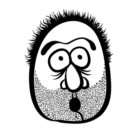 disorientated: Funny cartoon face with stubble, black and white lines vector illustration.
