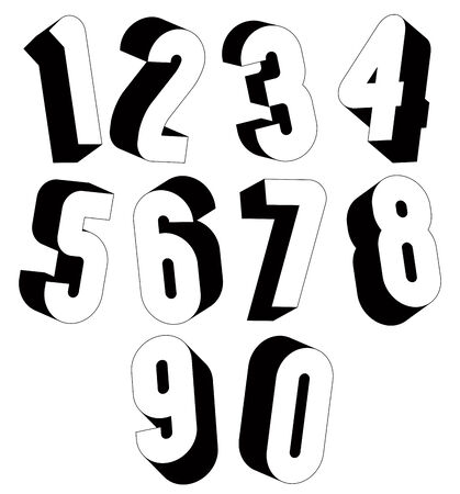 sans: 3d black and white numbers, stylish simple shaped numerals for design.