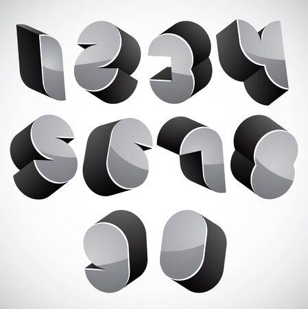sans serif: 3d futuristic numbers set, monochrome glossy numerals