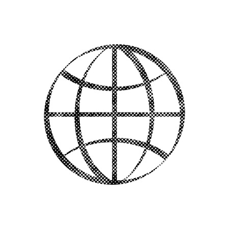 simplistic icon: Earth simplistic vector icon with pixel print halftone dots texture. Illustration