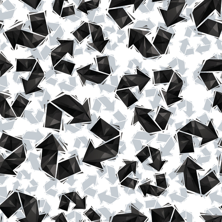 regular: Black recycle signs seamless pattern, geometric contemporary style repeating vector background