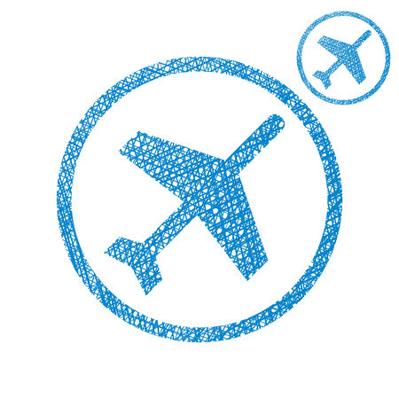 Plane vector simple single color icon isolated on white background with sketch lined hand drawn texture.