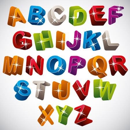 verbs: 3D font, funny colorful alphabet, vector. Illustration