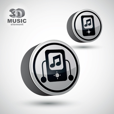mp: Mp3 player round icon isolated, 3d vector design element, 2 versions set. Illustration