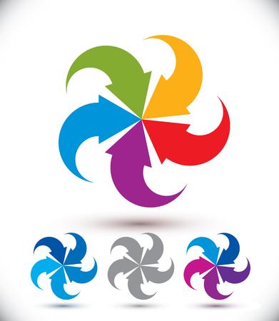 infinite loop: Infinite loop arrows vector abstract symbol, graphic design template pictogram set.