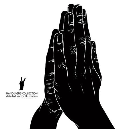 manos orando: Manos de rogaci�n, detallada ilustraci�n vectorial blanco y negro.